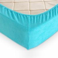 Простыня махровая на резинке Голубая 90х200 см