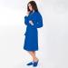 Халат женский вафельный с капюшоном синий Артпостель