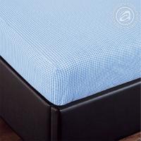 Простыня на резинке Клетка (голубой) трикотаж