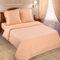 Персик поплин с простынёй на резинке 2-спальный