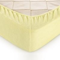 Простыня махровая на резинке Желтая 120х200 см